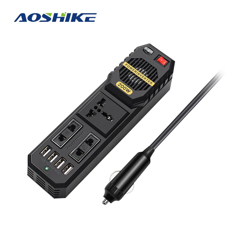 AOSHIKE 200W DC 12V bis AC 220V Tragbare Auto Power Inverter Ladegerät Converter <font><b>Adapter</b></font> Inverter <font><b>12</b></font> <font><b>v</b></font> <font><b>220</b></font> <font><b>v</b></font> DIY Modifizierte Sinus Welle image