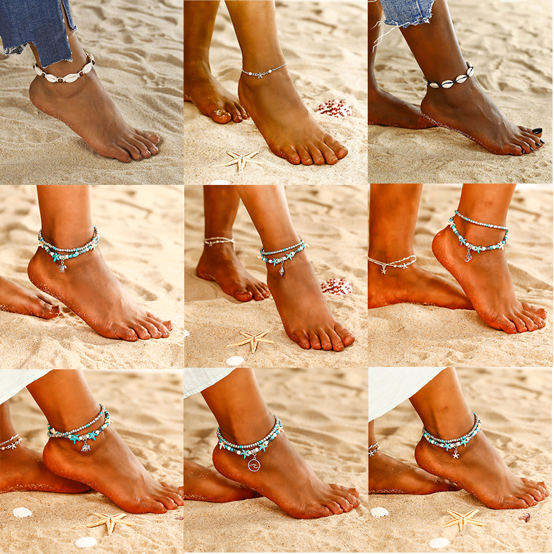 Gold Metal Shell Elephant Summer Anklets Barefoot Sandals Foot Summer Double Layers Anklets On Foot Ankle Bracelets 2020 Gifts