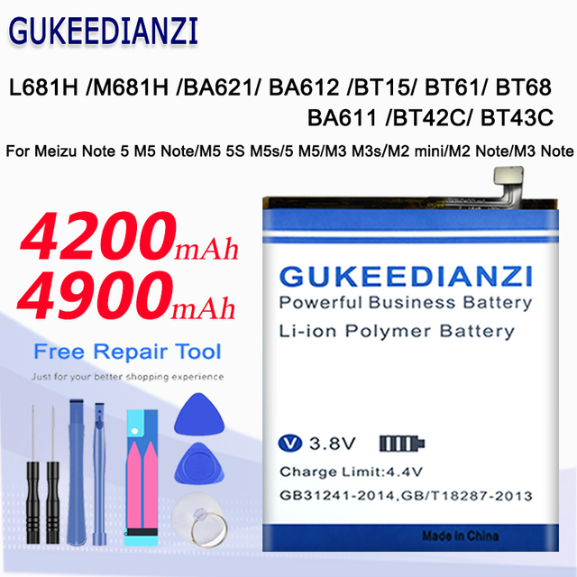Battery For Meizu Note 5 M5 Note/M5 5S M5s/M3 M3s/M2 mini/M2 M3 Note L681H M681H BA621/BA612/BT15/BT61/BT68/BA611/BT42C Battery
