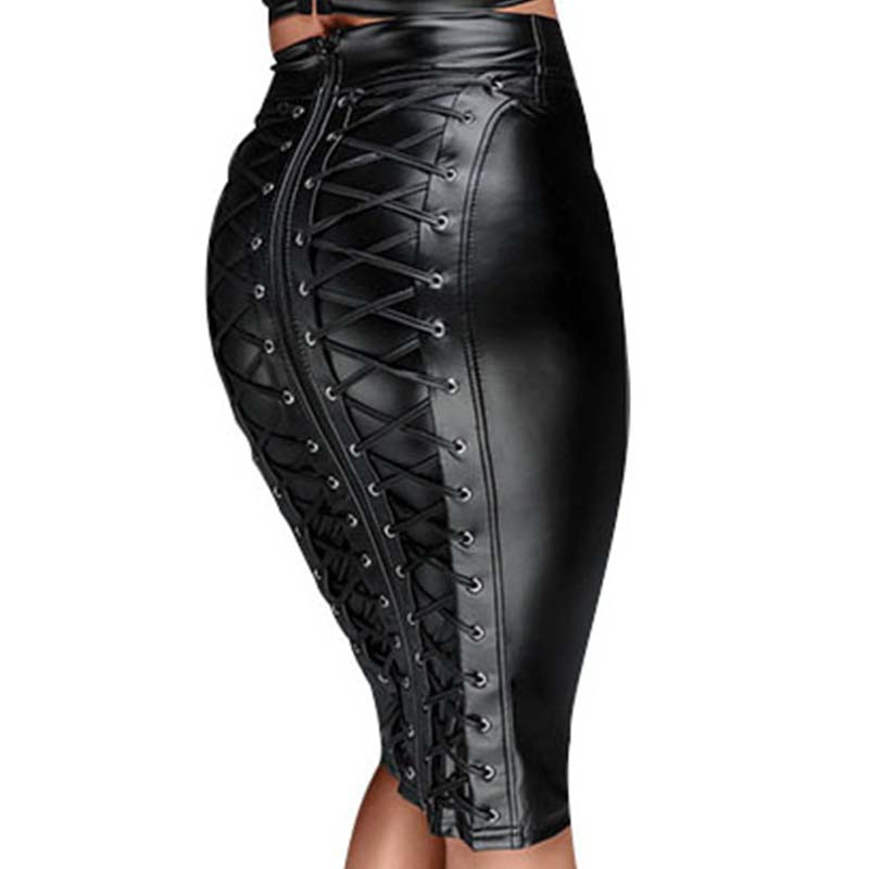 Gothic Wet look Faux Leather Skirt Sexy Punk Black Back Zipper Lace Up Wrap Pencil Skirt 2018 Summer Bodycon Midi Skirts Womens image