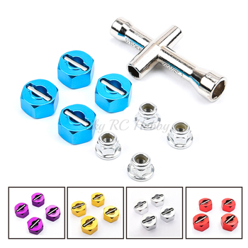 Aluminum 12mm Hex Hubs Wheel Adapters 7mm Thickness M4 Flanged Lock Nuts Cross Wrench for RC Traxxas 1/10 Stampede Slash 4x4 Car image