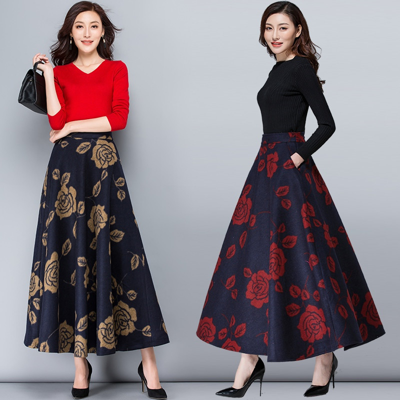 Mom High Waist Warm Vintage Wool Maxi Skirt Womens Winter Plus Size Print <font><b>Fllower</b></font> Woolen Skirts Ladies Casual Skirt Saia Longa image