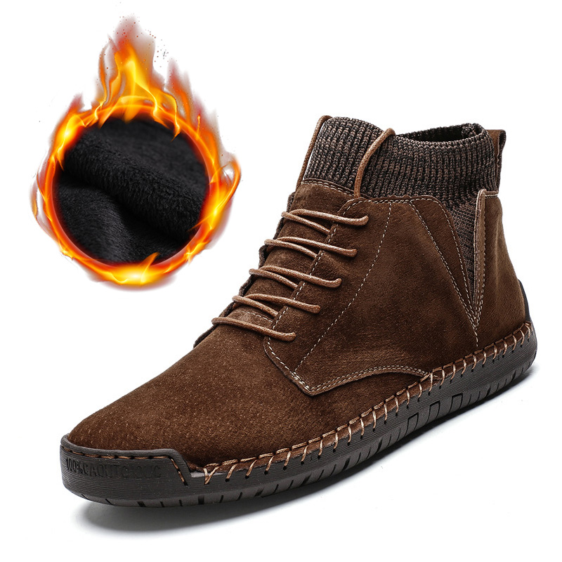 Genuine Leather Winter Shoes Men Suede Boots Warm Plush Cold Winter Mens Winter Boots Male Fashion Brand Ankle Boots KA1719