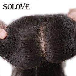 Recto Base de seda pelo Topper peluquín de cabello humano para las mujeres de Color puro virgen Remy WomenToupee con doble nudos