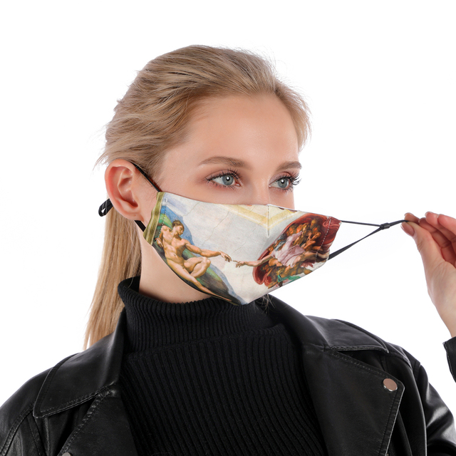 Zohra MICHELANGELO ART Printing Reusable Protective PM2.5 Filter mouth Mask anti dust Face mask bacteria proof Flu Mask 2