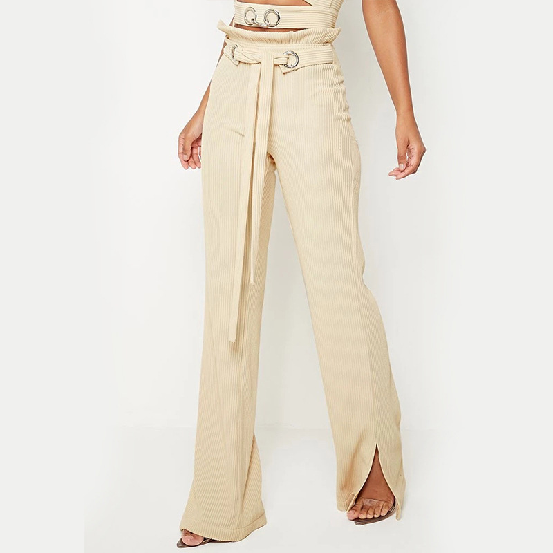 Corduroy Causal Loose Full Length Women's Laides Split Solid Drawstring Flare   Pants     Capris