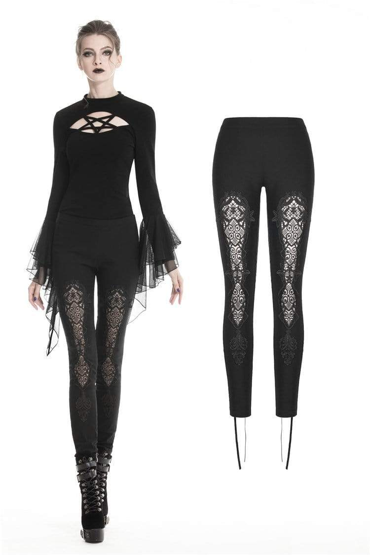 Darkinlove Women's Gothic Lace-up Floral Cutout Leggings PW094