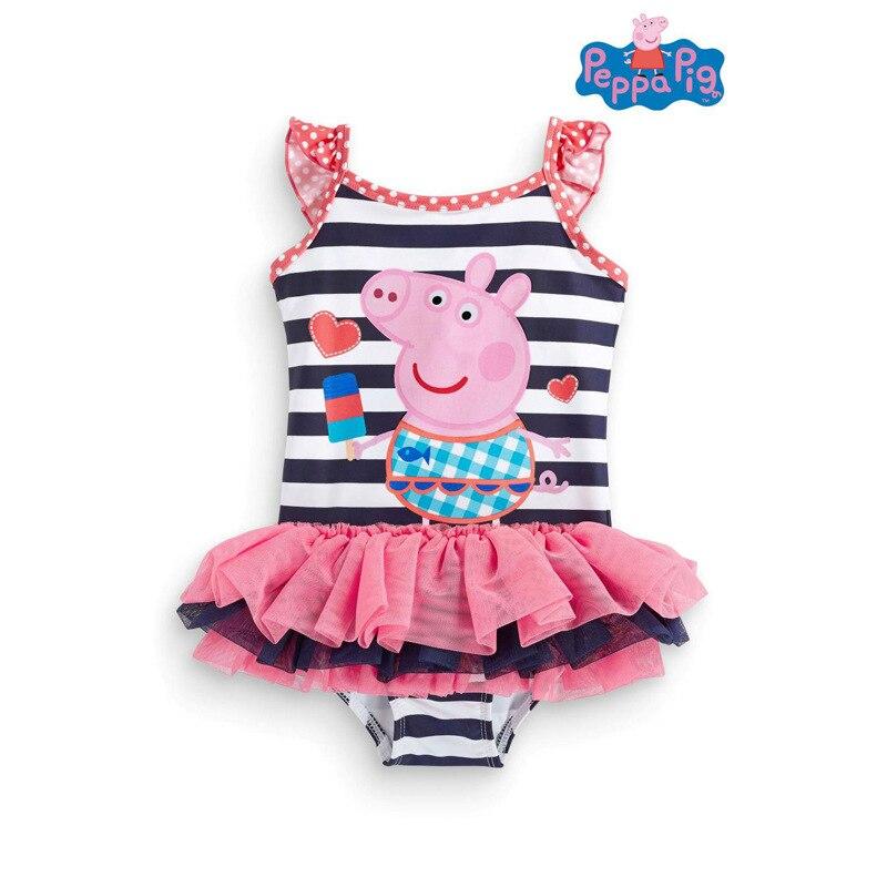 Peppa Pig Anime Figure Girl Swimsuit  Peppa Pig Swimwear Tankinis Girl Birthday Party Supplies Beach Gift Toys For Children