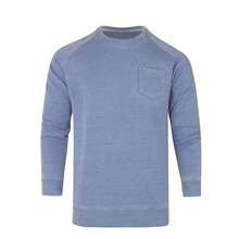 hot sale CVC fabric Knitted Crew Neck sky blue and navy colo