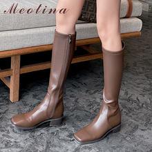 Женские сапоги из натуральной кожи meotina высокие до колена