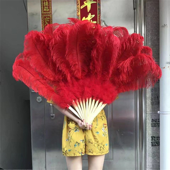 Wholesale 1pcs/lot High Quality Ostrich Feather Fan For Carnival Party Craft Dance Performance Red 13bars Feather Fan Plumas