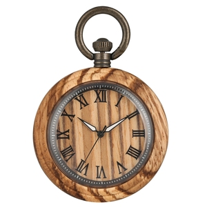 Image 3 - レトロゼブラウッド懐中時計ローマ数字ダイヤル発光針木製腕時計時計 fob チェーンための男性女性