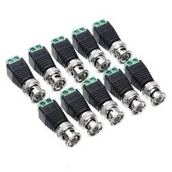10 conectores bnc dos pces para os cabos coaxiais/cat5/cat6 da câmera tvi da câmera da câmera de ahd cvi
