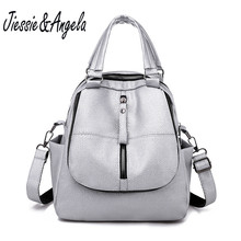 Jiessie&Angela Women Backpack PU Leather Backpacks For School Zipper Students Shoulder Bag Mini Backpack Women Travel Backpacks free shipping real photo 2017 mini pu mini backpack cheap women backpacks black bb108
