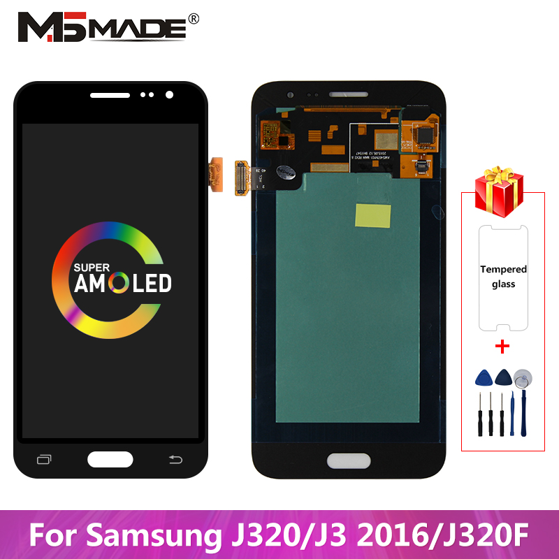J320F Super <font><b>AMOLED</b></font> For Samsung Galaxy <font><b>J320</b></font> J3 2016 <font><b>LCD</b></font> J320H J320FN J320M Display Touch Screen Digitizer Assembly Parts <font><b>J320</b></font> <font><b>LCD</b></font> image