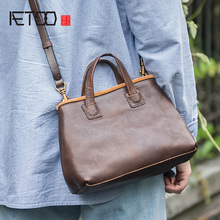 AETOO New fashion retro art handheld womens bag, leather hundred with crossbody handmade cowhide handbag