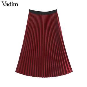 Image 2 - Vadim ผู้หญิง Basic กระโปรงจีบเอวสีแดงสีดำกระโปรง Midi หญิงสบายๆกลางลูกวัวกระโปรง BA848