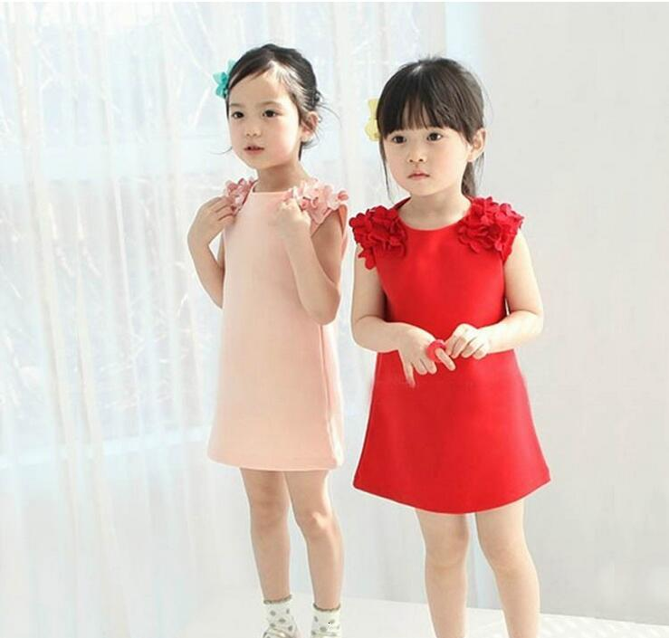 Hee1d18f80f224f26a05ca570e2252e0b1 Kids Dresses Girls 2017 New Fashion Sweater Cotton Flower Shirt Short Summer T-shirt Vest Big For Maotou Beach Party Dress