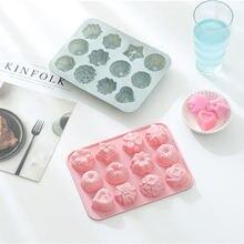 12 ячеек 3d Цветы шоколад силиконовые формы помадка луна торт