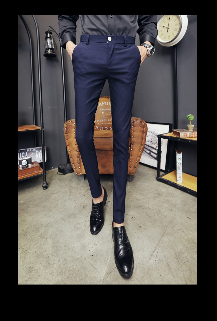 2020 New Pantalon Homme Korean Fashion Solid Pants Men Slim Fit Casual Elastic Streetwear Suit Pant Long Trousers Men Clothing 20
