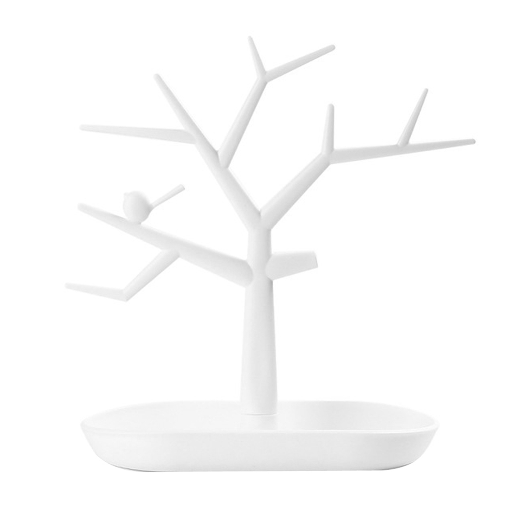 Vintage White Jewelry Tree Organizer Rack Earing Ring Holder Display