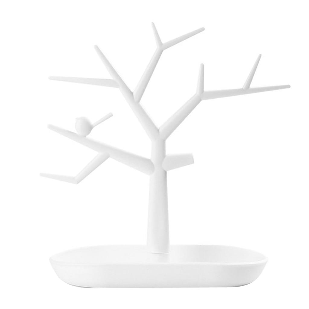Vintage White Jewelry Tree Organizer Rack Earing Ring Holder Display