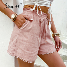 Drawstring Shorts Pocket Lace Simplee Elastic-Waist Loose Pink Hollow-Out Woman New Causal