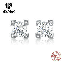 BISAER Stud Earrings Genuine 925 Sterling Silver Jewelry For Women Shiny Cubic Zircon Gift Summer New High Quality HVE192 new fashion high quality super shiny zircon 925 sterling silver stud earring for women jewelry wholesale gift oorbellen