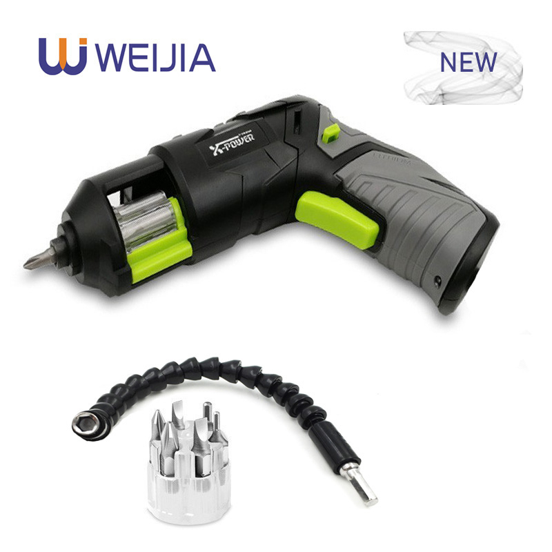 Pistol Design Mini Cordless Electric Screwdriver  Rechargeable Lithium Battery With LED Lighting And Head For Home DIY For 7 PCS