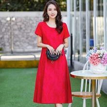 Женское элегантное платье с цветочным принтом красное хлопковое