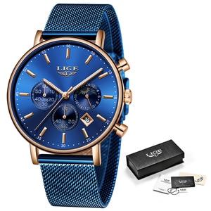 Image 5 - LIGE 2019 kadın moda mavi quartz saat bayan örgü kordonlu saat yüksek kaliteli rahat su geçirmez kol saati kadın izle Reloj Mujer
