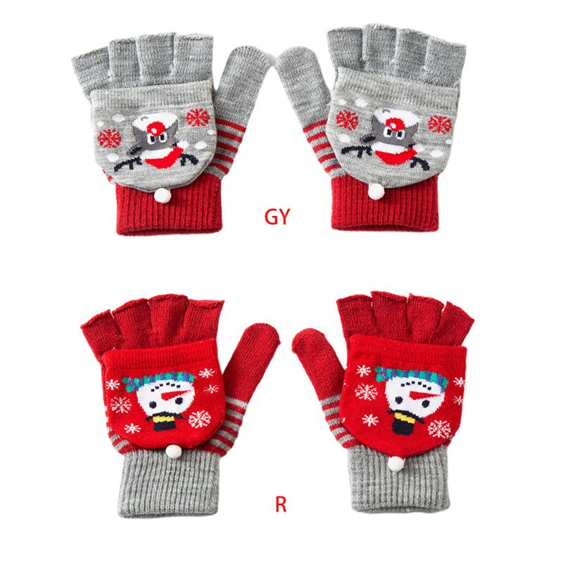 Kids Winter Knit Christmas Convertible Warm Gloves Cartoon Snowman Flip Mittens