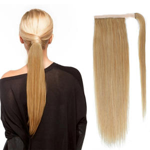 Hair-Extensions Ponytail Blonde Human-Hair Brazilian-Wrap Around Straight Clip-In Drawstring
