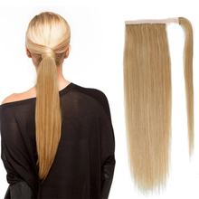 Hair-Extensions Ponytail Human-Hair Drawstring Brazilian-Wrap Around Straight Clip-In