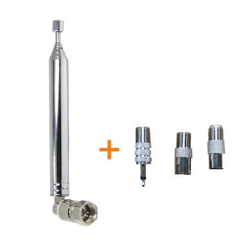 Tipo macho telescópico da antena 75 ohm f do rádio de fm da antena extensível até 76cm com 3 adaptadores pal macho fêmea e 3.5mm