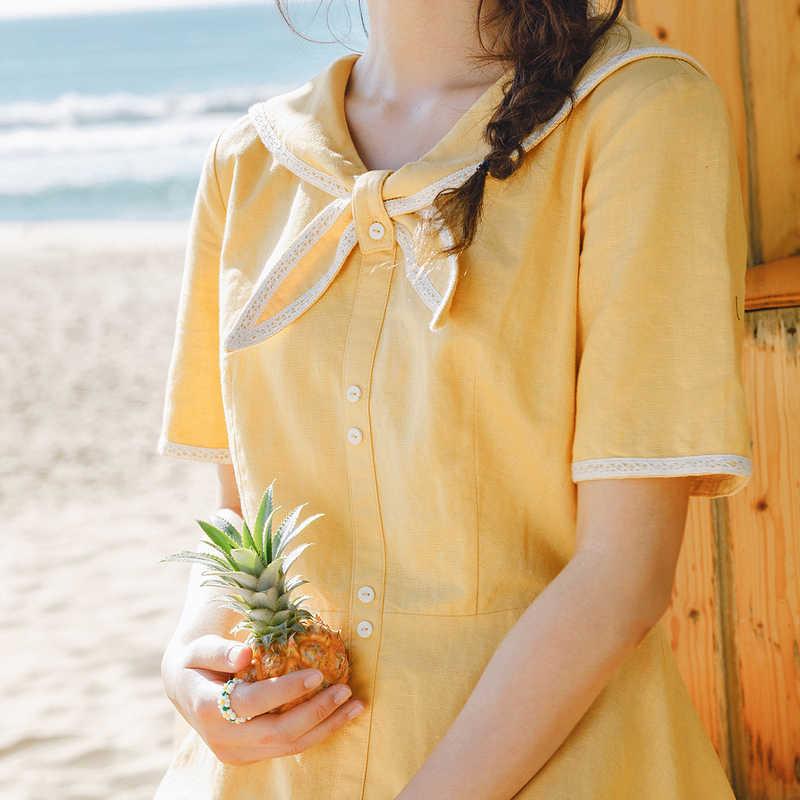 Xã INMAN Mùa Hè 2020 Mới Arriavl Cách Học Ngọt Ngào Nữ Tay Ngắn Màu Sắc Tương Phản Cotton Và Vải Lanh Đầm
