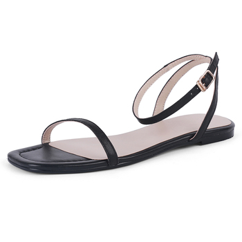 Women Flat Sandals Genuine Leather Summer Ladies New Flat Sandal Casual Woman Ankle Strap White Red Black Comfortable Shoes