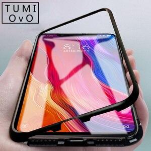 Роскошный Магнитный адсорбционный чехол 360 для Xiaomi Pocophone F1 Mi 8 SE A2, Магнитный чехол из закаленного стекла для Redmi Note 5 6 Pro 6A