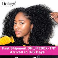 Extensiones de cabello humano rizado con Clip 3B 3C, conjunto de cabeza completa, 100%, humano, negro, Natural, 4A, Dolago, brasileño, Remy