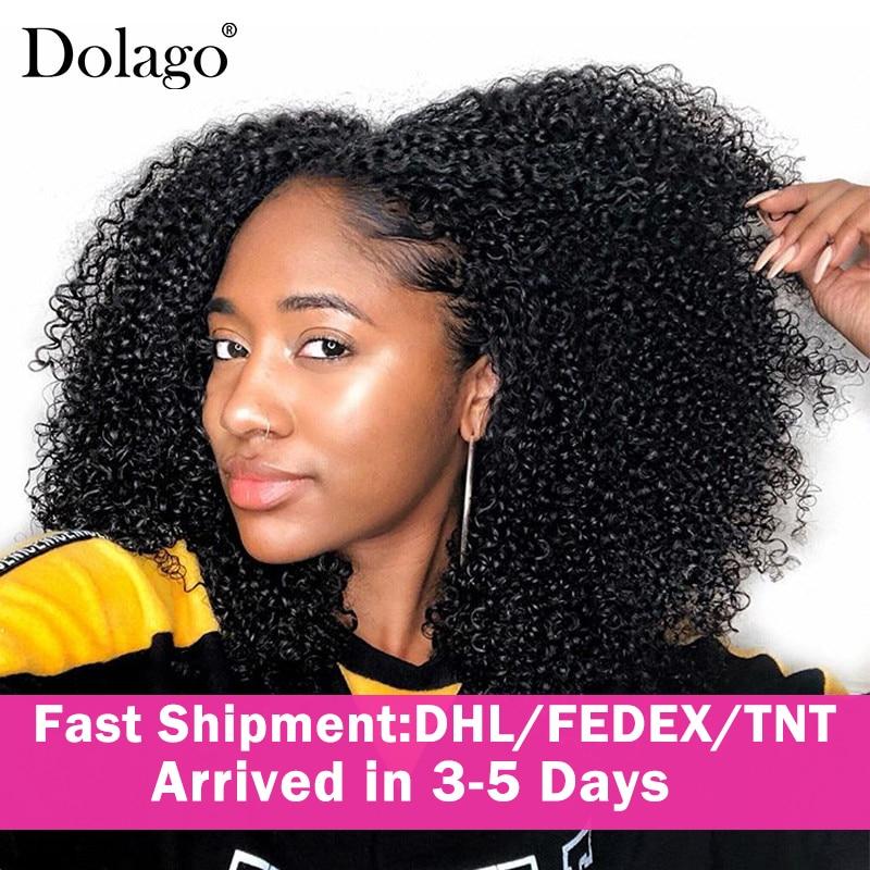 Extensions de cheveux brésiliens Remy avec Clip-Dolago   Extensions de cheveux 100% naturels, cheveux crépus bouclés, 3C, ensemble tête complète, noir naturel 4A
