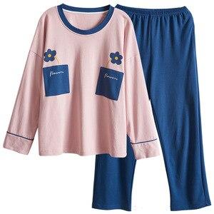 Image 4 - PLUS ขนาด 4XL หลวมบ้านเสื้อผ้าฤดูใบไม้ร่วงฤดูใบไม้ผลิใหม่ชุดนอนผ้าฝ้าย 100% คุณภาพสูงผู้หญิงชุดนอนชุดเสื้อผ้า