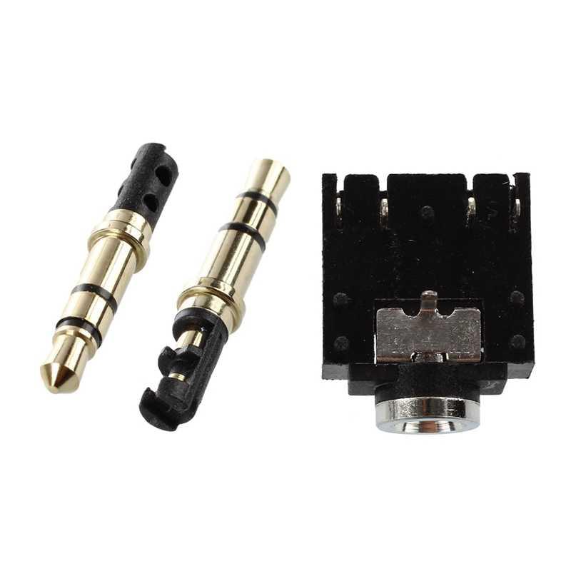 10Pcs 3.5 มม.ชาย 3 บัดกรีหูฟังหูฟังแจ็ค Audio Gold Tone & 10Pcs DIP PCB 5 Pins 3.5 MM SOCKET Headpho