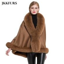 JKKFURS Womens Real Fur Poncho Genuine Fox Fur Collar Trim & Wool Cashmere Cape Fashion Style Winter Warm Coat S7358