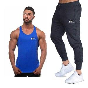 Image 5 - Yeni moda pamuk kolsuz gömlek tank top + pantolon erkek spor gömlek erkek atlet vücut geliştirme egzersiz spor salonları yelek spor setleri