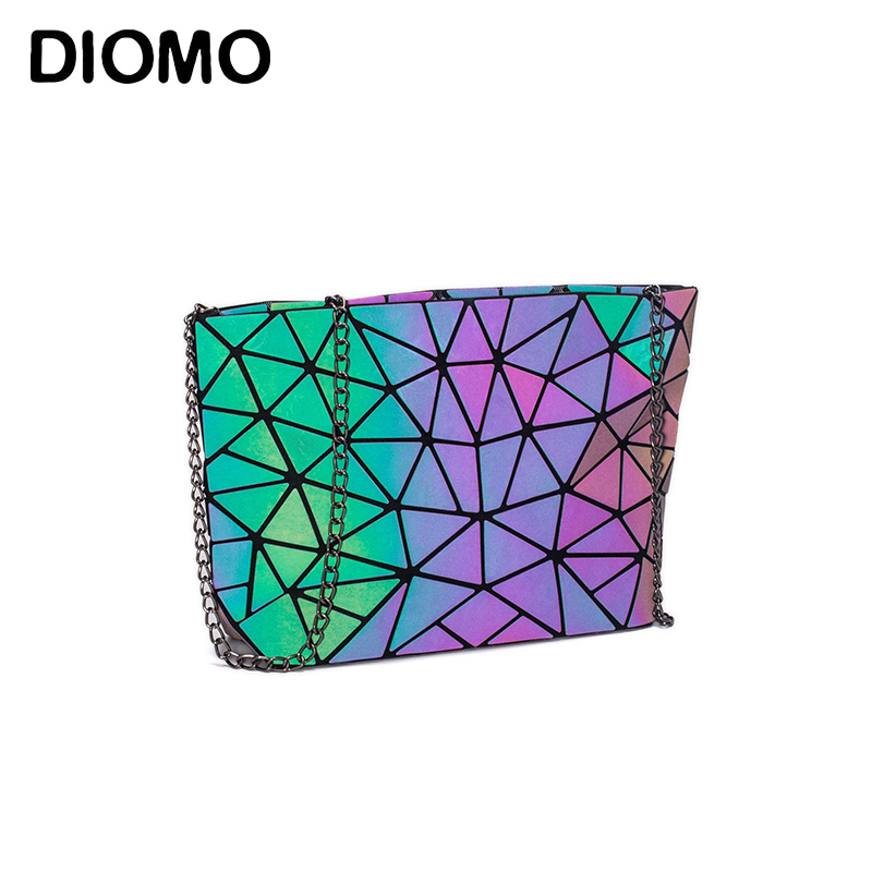 DIOMO Messenger Bag Women's Chain Bag 2019 Fashion Luminous Geometric Sling Bag Sac Femme Shoulder Strap Female Bolsas Feminina