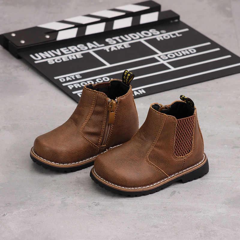 Winter Nieuwe Kinderen Martin Laarzen Fashion Side Rits Meisjes Laarzen Kwaliteit Microfiber Jongens Laarzen Zachte Bodem Warme Baby Schoenen