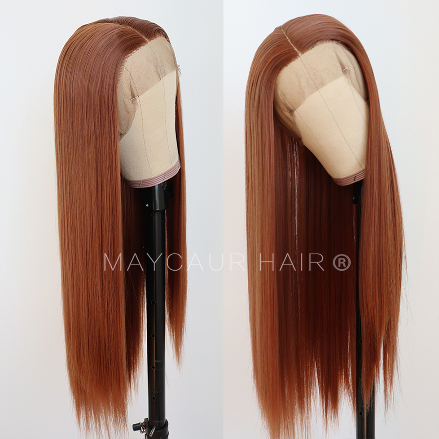 maycaur Synthetic Lace Front Wig Silky Straight 30B Heat Resistant Synthetic Replacement Hair Wigs for Fashion Women (2)