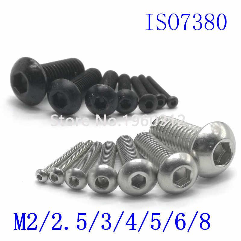 5-50pcs ISO7380 M2 M2.5 M3 M4 M5 M6 M8 304 A2 รอบสแตนเลสหรือสีดำ 10.9 เกรด Hex Head Allen Bolt สกรู