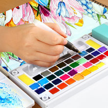 Pinturas de acrílico Superior sólida pintura acuarela con cepillo pluma pincel de plegable de viaje agua pigmento de Color dibujo 03111