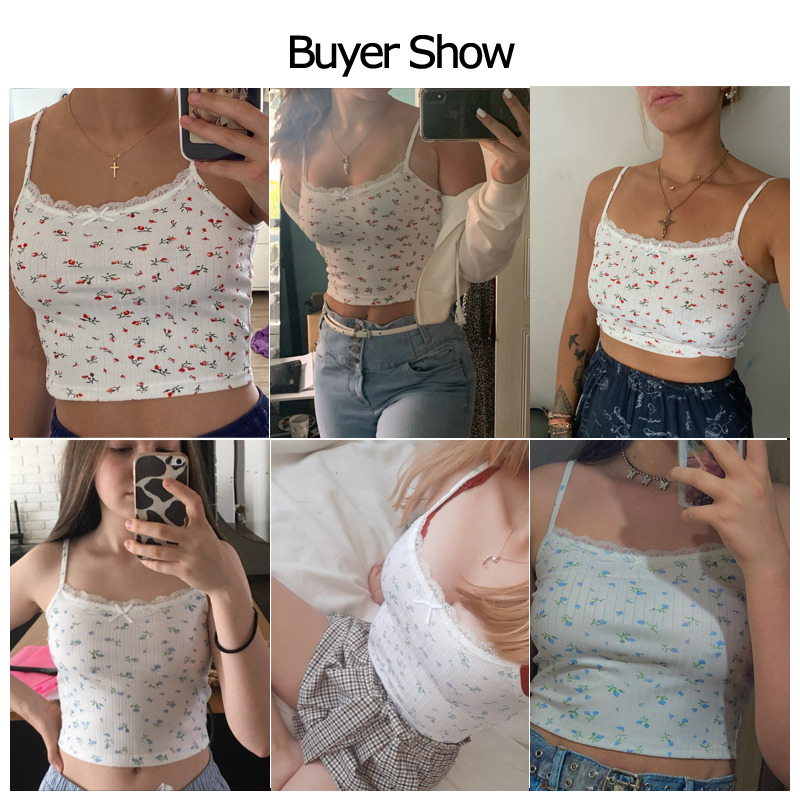 HEYounGIRL Floral Printed Kintted Spaghetti Strap Top Women White Cute Casual Sleeveless Camis Tops Tees Patchwork Lace Crop Top 5